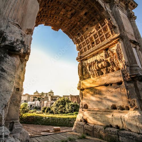 Fotografie, Obraz  Triumphal Arch of Titus on the Via Sacra of the Roman Forum