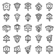 Bird House Icons Set. Outline Set Of Bird House Vector Icons For Web Design Isolated On White Background