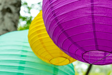 Colorful Traditional Paper Lanterns Hanging Outdoors, Holiday Decorations Concept