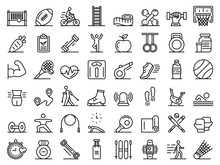 Outdoor Fitness Icons Set. Out...