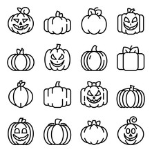 Pumpkin Icons Set. Outline Set Of Pumpkin Vector Icons For Web Design Isolated On White Background