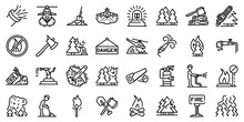 Wildfire Icons Set. Outline Set Of Wildfire Vector Icons For Web Design Isolated On White Background