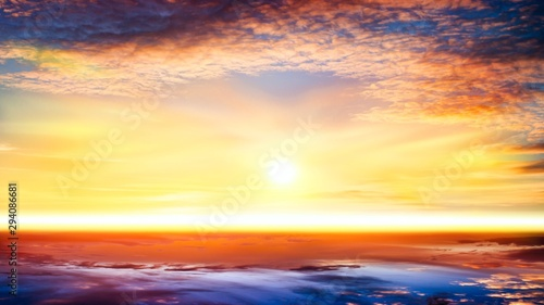 Foto op Canvas Zwavel geel Beautiful sunrise . Beautiful heavenly landscape with the sun in the clouds .