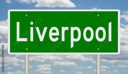 Photo  Rendering of a green 3d highway sign for Liverpool in England