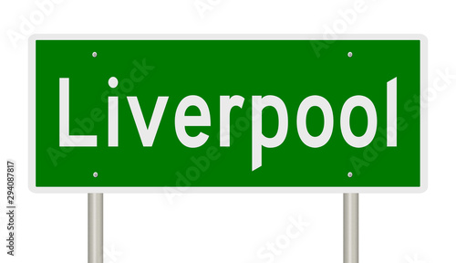 Rendering of a green 3d highway sign for Liverpool in England Wallpaper Mural