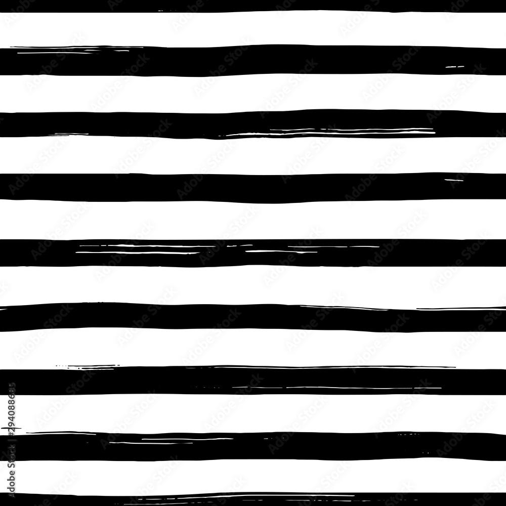 Fototapeta Vector seamles striped pattern. Hand drawn grunge black and white stripes.