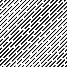 Seamless Pattern With Black Rounded Diagonal Lines. Abstract Vector Background.