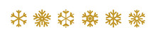 Vector Gold Glittering Snowflakes Collection Isolated On White.