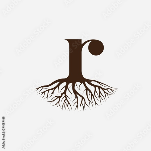 Canvas Letter R with root logo design vector template