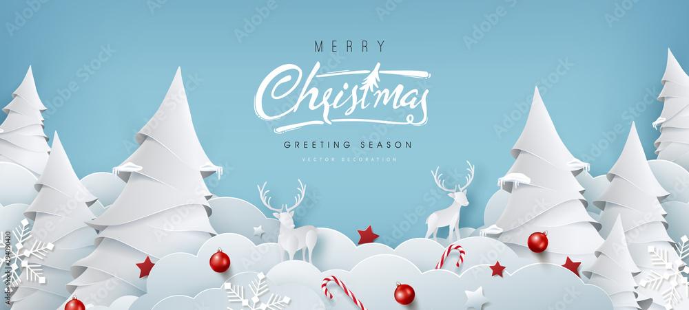 Zimowy skład Boże Narodzenie w stylu cięcia papieru. Wesołych Świąt tekst kaligraficzna napis ilustracji wektorowych. <span>plik: #294090420 | autor: bokmok</span>