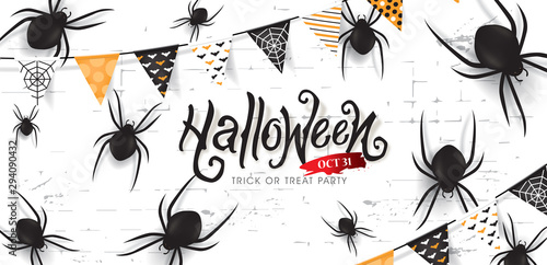 Halloween banners party invitation decor with black spider and party flag on white background Wallpaper Mural