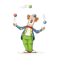 Funny Cartoon Clown. Hand Drawn Vector Illustration With Separate Layers.