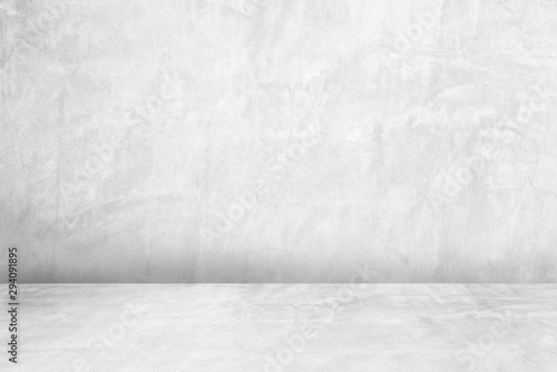 Obraz na plátně  Room empty of cement floor with gray room cement or concrete wall texture background and sun light