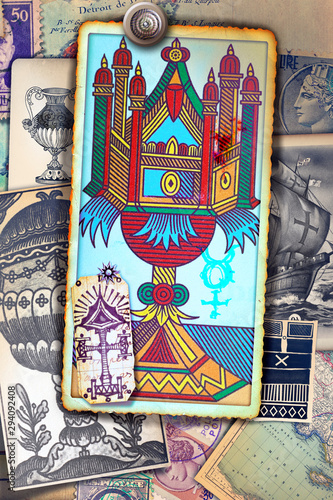 Poster Imagination Ace of tarot cups on a background of esoteric cards, and astrological and alchemical symbols