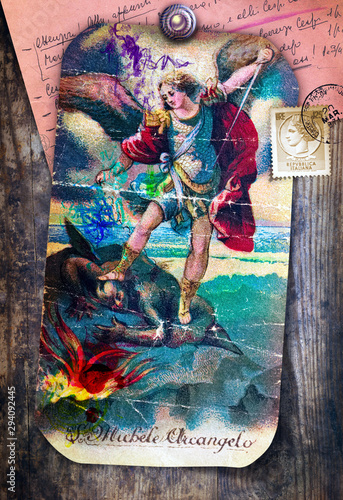 Tuinposter Imagination St. Michael the Archangel, a sacred image of ancient, popular and devotional art