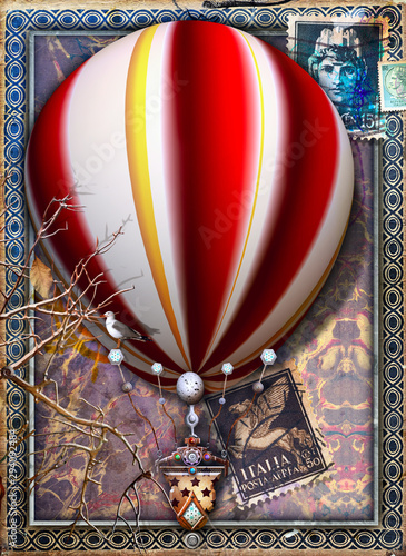 Poster Imagination Fantastic and steampunk hot air balloon with ancient Italian symbols and stamps