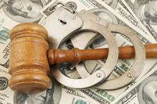 Wooden Judge Gavel And Handcuf...