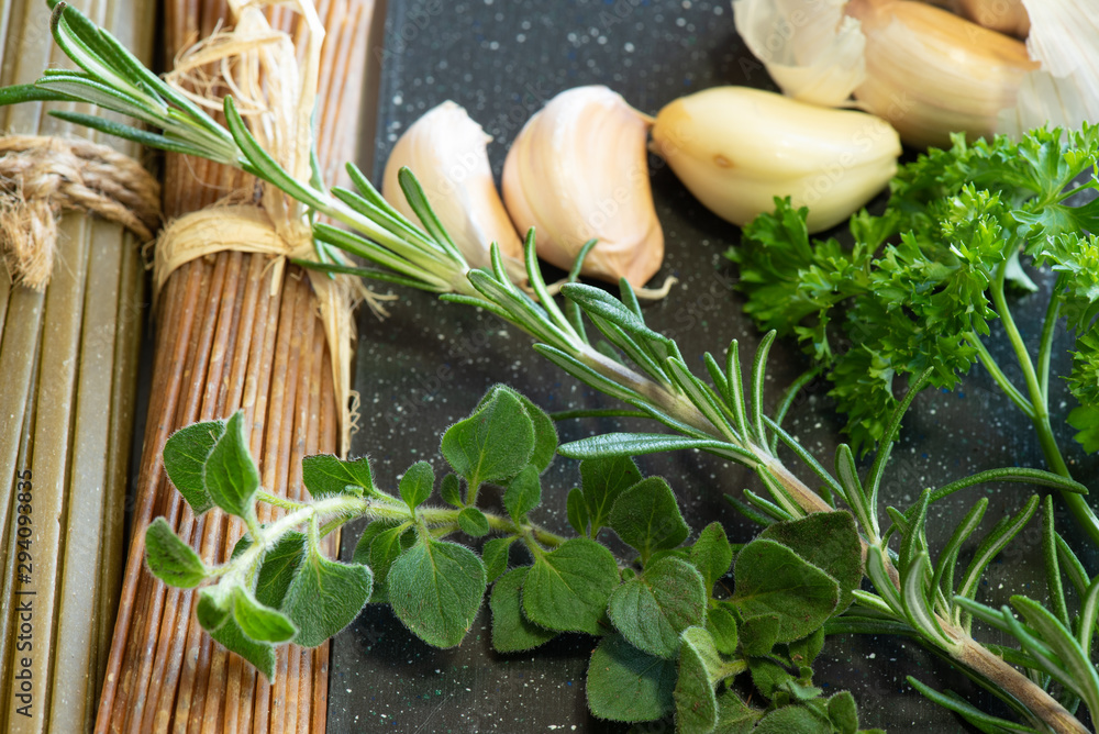 Fototapety, obrazy: Pasta and herbs