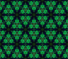 Abstract Bright Green Kaleidoscope Symmetric Pattern On A Black Background.