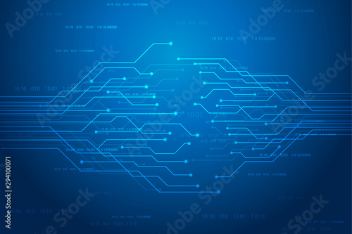 Abstract futuristic circuit board Illustration, high computer technology dark blue color background. Hi-tech digital technology concept. vector illustration