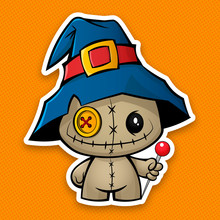 Voodoo Doll. Halloween Voodoo Doll In A Witch Hat With A Needle In His Hand. Cartoon Style Sticker. Chibi, Cute, Kids Costume .Vector.