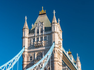 Fototapeta na wymiar Detail of the Tower bridge over Thames river on a sunny day in London, United Kingdom