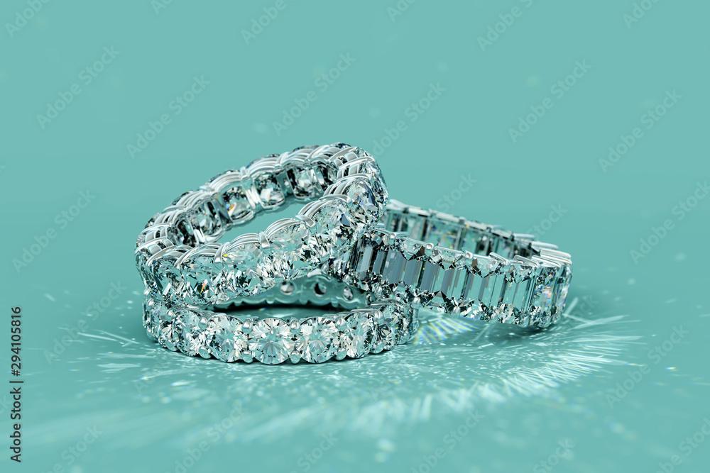 Fototapeta Tree diamond eternity rings on turquoise background
