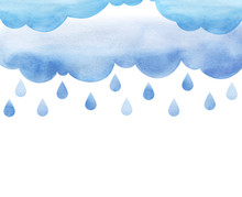 Overcast And Rain. Blue Rainy Clouds. Background Cutout Cumulus Clouds With Paper Texture. Large Raindrops. Layers Of Clouds. Watercolor Fill. Page Border Template. Isolated On A White Background