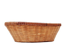 Wicker Basket Isolated On White Background.