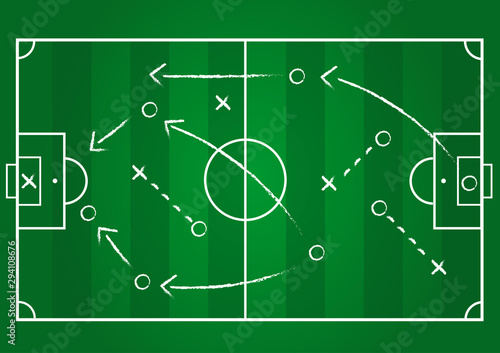 Fotografía Background of soccer team formation and tactic drawing on the green football boa
