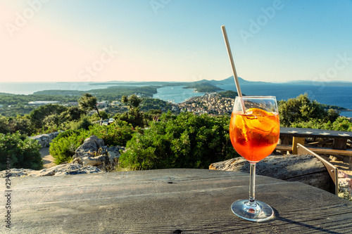 Fotomural cocktail with scenic view of the croatian losinj islands in the kvarner gulf day