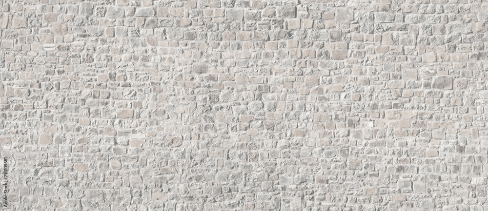 Fototapeta White washed old stone wall. Background for text or image.