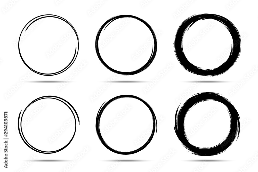 Fototapeta Hand drawn circles sketch frame set. Scribble line circle. Doodle circular Round logo design elements drawn by brush. Vector abstract art collection.