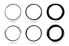 Hand Drawn Circles Sketch Frame Set. Scribble Line Circle. Doodle Circular Round Logo Design Elements Drawn By Brush. Vector Abstract Art Collection.