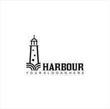 Vintage Lighthouse Logo Design Silhouette . Harbour Logo Retro Hipster