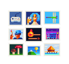 Gamepad, Girl Takes Selfie, Dragonfly, Cool Guy, Bus, Mushroom, Mountain And Balloon, Vintage Postmark Template Pixel Art Icon,. Design For Logo, Sticker And Mobile App. Isolated Vector Illustration.