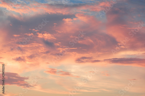 Leinwand Poster  beautiful of Stratus cloud in sunset background for forecast and meteorology con
