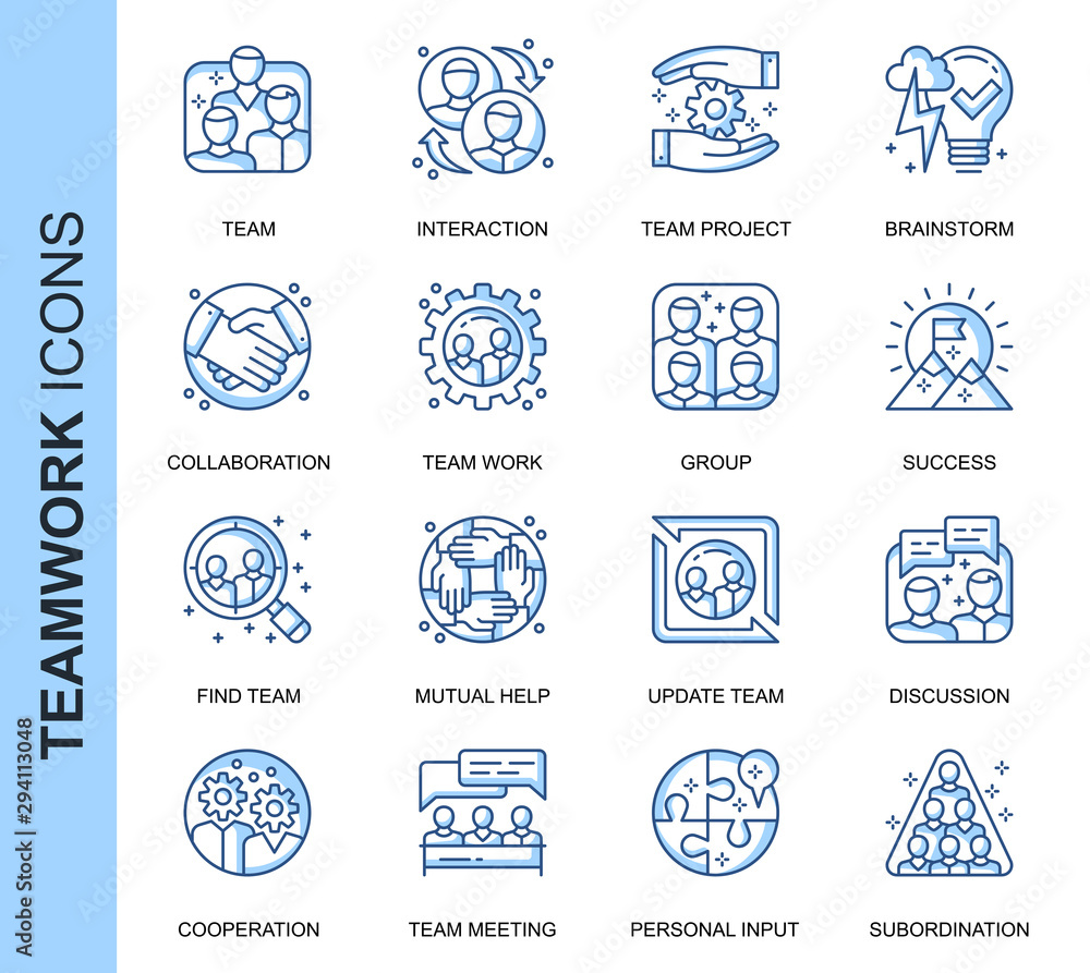 Fototapeta Thin Line Teamwork Related Vector Icons Set for Website and Mobile Site and Apps. Outline icons design. Contains such Icons as Cooperation, Collaboration, Team Meeting and more. Linear Pictogram Pack.