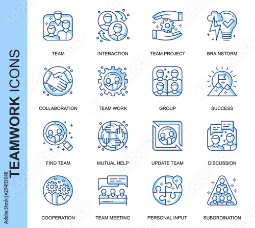 Thin Line Teamwork Related Vector Icons Set for Website and Mobile Site and Apps Canvas Print