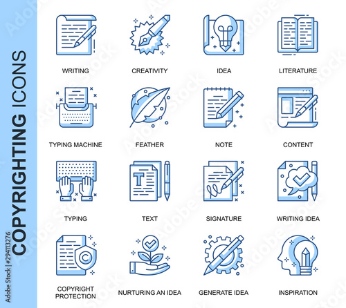 Thin Line Copyrighting Related Vector Icons Set for Website and Mobile Site and Apps. Outline icons design. Contains such Icons as Typing Machine, Signature, Process and more. Linear Pictogram Pack. Wall mural