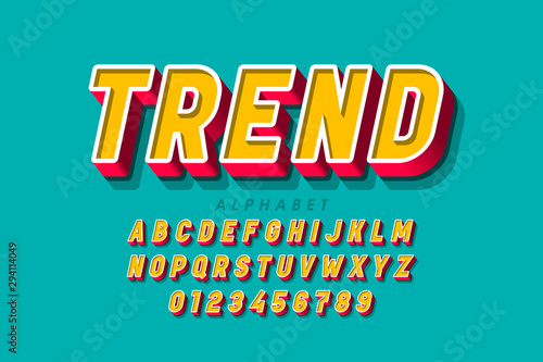 Cuadros en Lienzo  Trendy 3d style font, alphabet letters and numbers