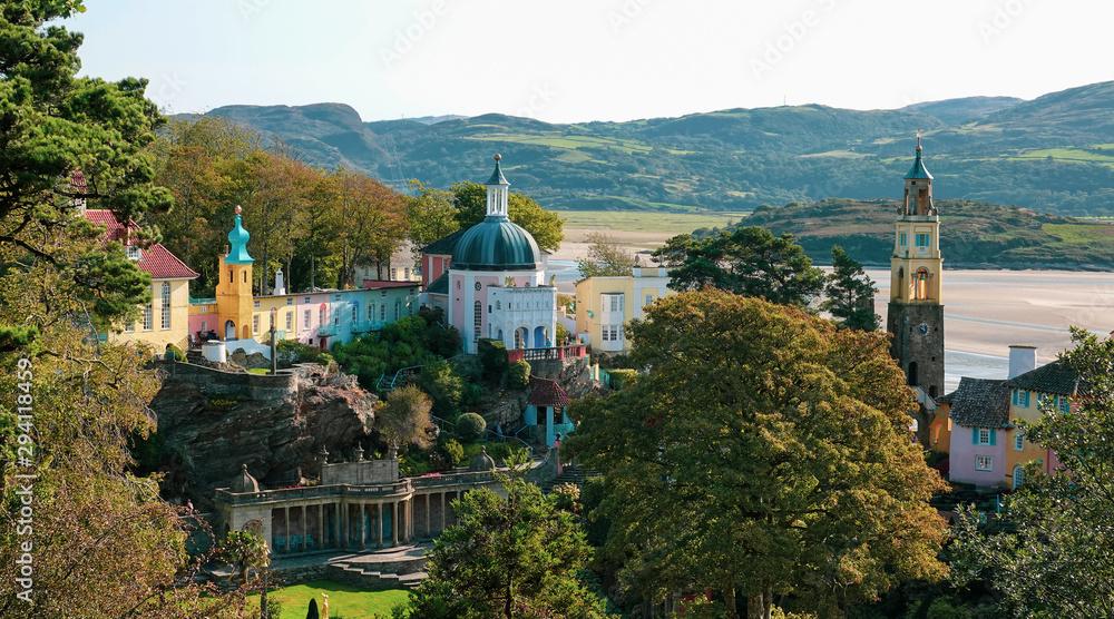 Fototapeta Portmeirion, an Italian style tourist village in Gwynedd, North Wales