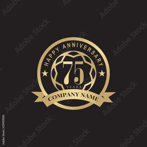 Photo 75th years celebrating anniversary icon logo design vector template