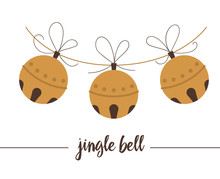 Vector Golden Jingle Bells Isolated On White Background. Cute Funny Illustration Of New Year Symbol. Christmas Flat Style Traditional Picture For Decorations Or Design..