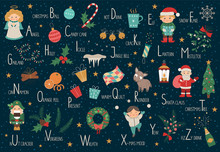 Vector Christmas Alphabet For Children. Cute Flat ABC With New Year Symbols. Horizontal Layout Funny Poster For Teaching Reading On White Background..