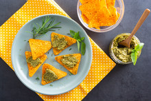 Nachos Chips Or Corn Mexican Chips With Pesto Pasta Healthy Food Snack, Top View