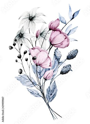 rozowe-i-niebieskie-kwiaty-liscie-akwarela