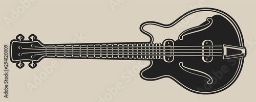 Photo Black and white illustration of electric guitar