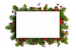 canvas print picture - Christmas frame of tree branches