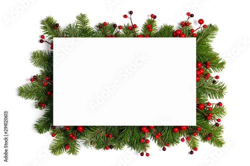 Obraz Christmas frame of tree branches - fototapety do salonu